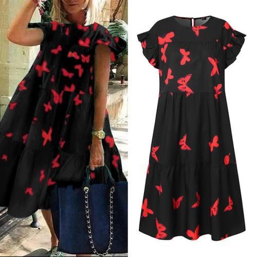 2020 Women Casual O Neck Ruffled Sleeve Knee-Length Casual Dress
