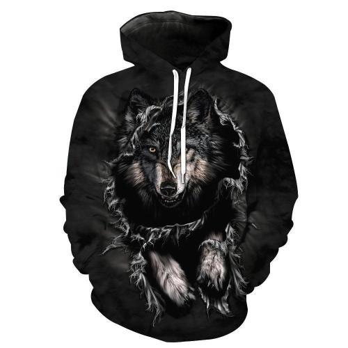 Wild Wolf Pattern Hoodie