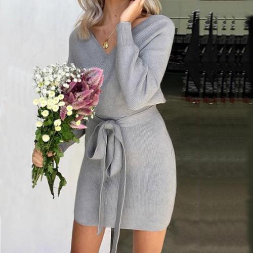 V Neck  Backless  Belt  Plain  Long Sleeve Bodycon Dresses