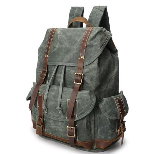 Men's horse skin oil wax waterproof travel backpack