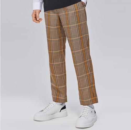 Mens Fashion Plaid Printed Wide Leg Pants LH027