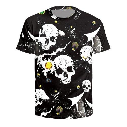 Skull Printed Round Neck Pullover Short Sleeve T-shirt
