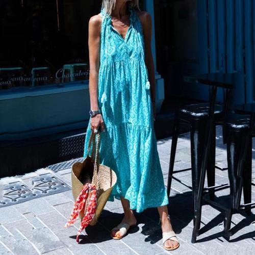 V Neck Kaftan Tribal Blue Date Casual Cotton-Blend Dress