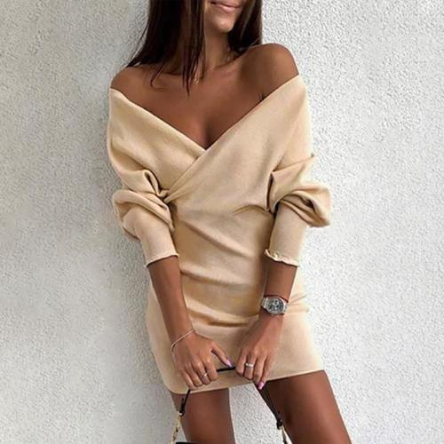 Sexy Pure Color Long Sleeve Dress