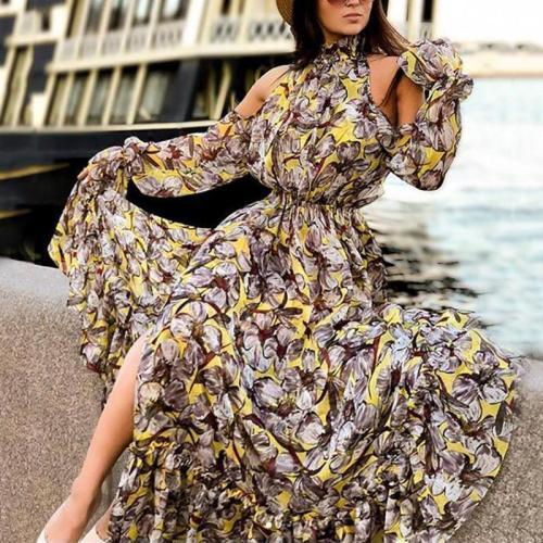 Casual Off-Shoulder Printed Colour Slit Bell Sleeve Elastic Dress
