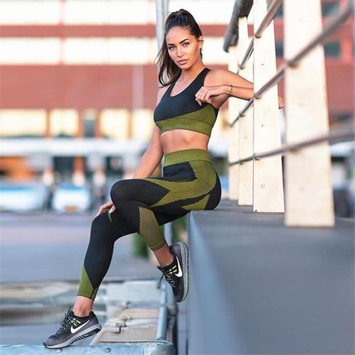 Women Thickness Seamless Yoga Suit Sportswear Fitness Sport Gym Running Set 2 Piece Costume For Yoga Sports Bras+Leggings Sets T