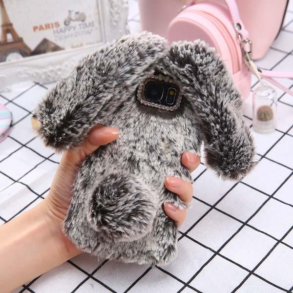 Fashion Bling Diamond Cute Soft Fluffy Rabbit Case For Samsung