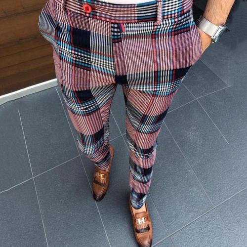 Fashion Men's High Waist Check Casual Pants