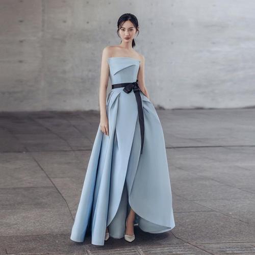 Vestidos De Noche Largos Elegantes De Fiesta 2019 Evening Dresses Long Blue Ivory  Dress Party  Formal Gown Prom Dresses