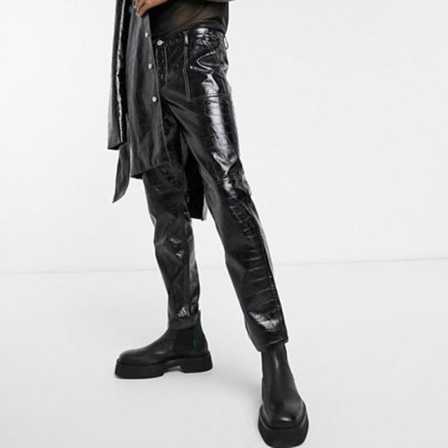Fashion black leather long men's pants lc048