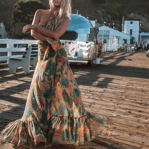 Sexy Wrapped Chest Printed Vest Skirt Suits Evening Dress