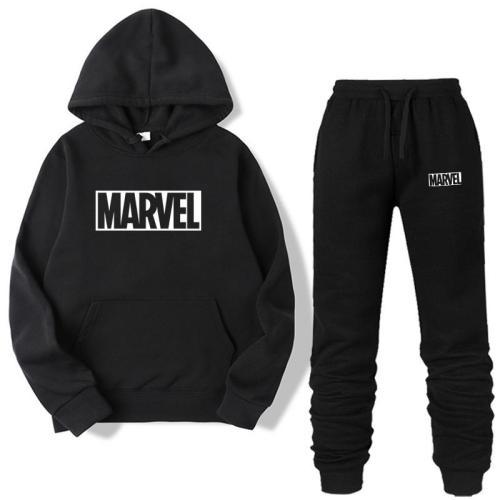 New 2020 MARVEL Print Tracksuit Men Thermal Men Sportswear Sets Cotton Hoodie+Pants Sporting Suit Casual Sweatshirts Sport Suit