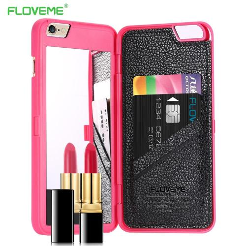 Mirror Back Water Patterned Card Slot Flip Case For iPhone