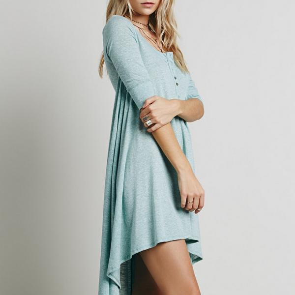 Button Loose Casual Dress
