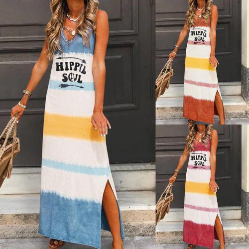 2020 New Spring Summer Woman Dresses Casual Fashion Beach Boho Striped Sleeveless V-neck Printed Loose Woman Dress Sundress
