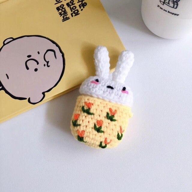 Cartoon Rabbit Handmade Knitted Plush Doll Winter AirPod Case