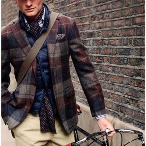 Formal Plaid A Lapel Men Suit
