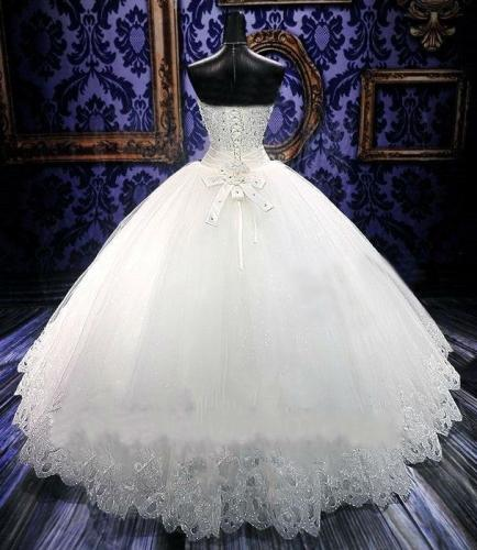 2019 Ball Gowns Bridal Dress Sparkling Beaded Lace Tulle Sleeveless Strapless Sweetheart Adjustable Plus Size Wedding Dress