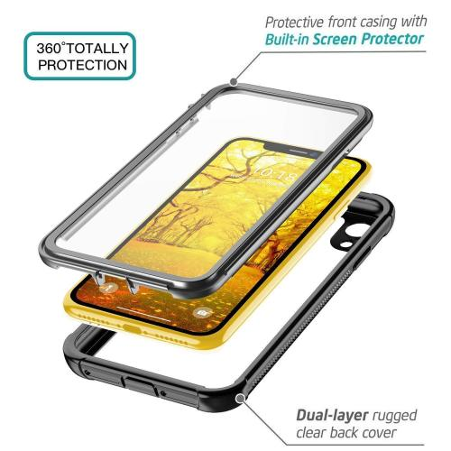 For iPhone XR XS Max Case Full-body Rugged Clear Bumper Case With Built-in Screen Protector