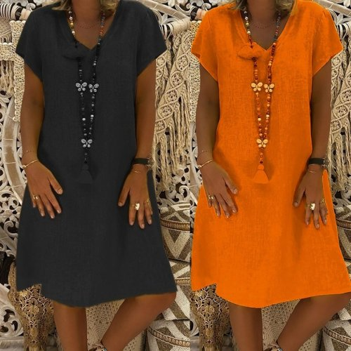 Size Plus S-5XL!! 2020 Hot Sale Hot Women Summer Style Feminino Vestido T-shirt Cotton Casual Plus Size Ladies Dress Vestido @17