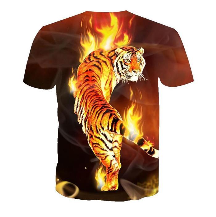 3D Flame Tiger Print Men Funny Casual Short Sleeve T-shirt Tee Tops