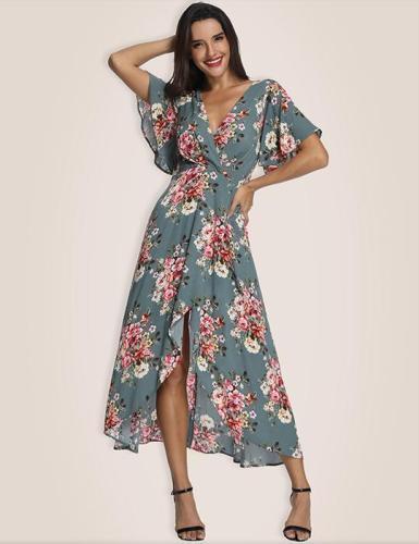 Green Feminine Type High Low Maxi Dress
