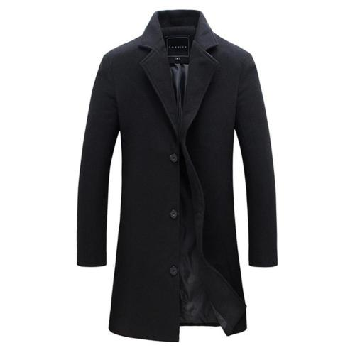 2020 New Fashion Winter Men's Solid Color Trench Coat Warm Long Jacket Single Breasted Overcoat Casual Fashion Thicker Overcoat