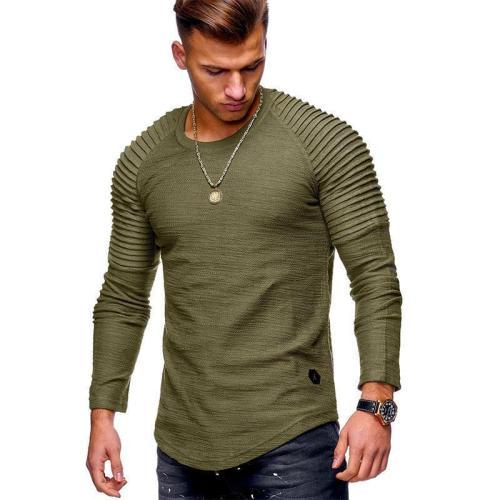 Men's Striped Fold Raglan Long-sleeved T-shirt
