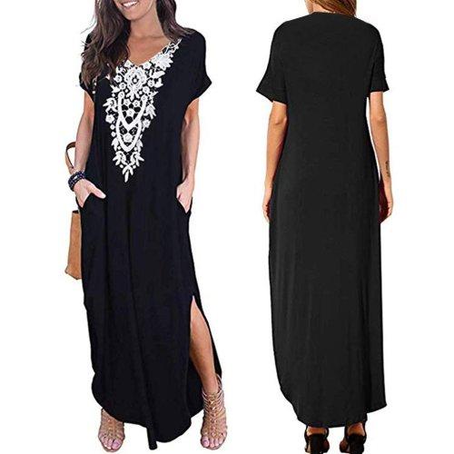 Fashion Loose Short Sleeve V-Neck Lace Pocket Print Split  Maxi  Dress
