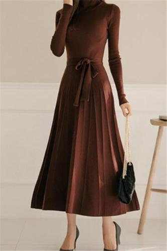 Casual Sexy High Collar Long Style Knitted Sweater Shown Thin Maxi Dress Evening Dress