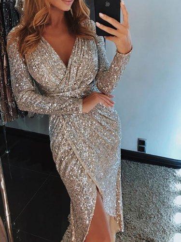 Surplice  High Slit  Plain Evening Dresses