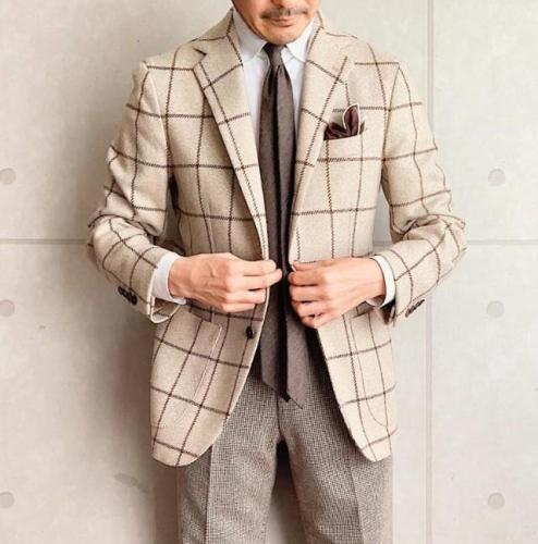 Fashion men's plaid print blazer