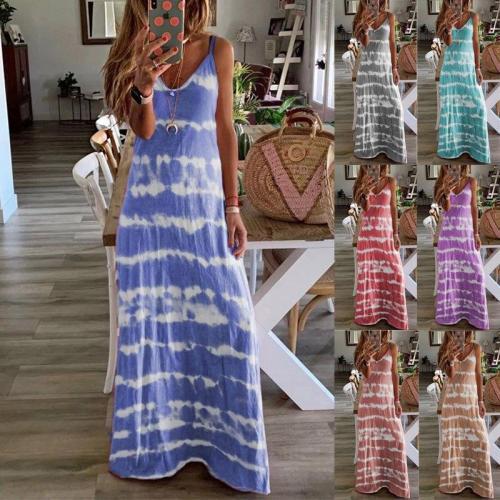 Plus Size Dress 5XL Vintage Summer Woman Dresses Striped V-Neck Loose Spaghetti Strap Casual Beach Woman Dress