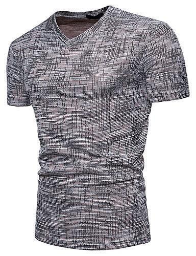 Men Daily Basic Solid Colored V Neck Slim T-shirt