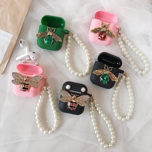 Luxury Diamond Bee Bling AirPods Case Silicone Shockproof Cover with Pearl Bracelet