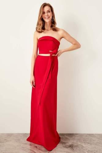 Trendyol Girdle Detail Evening Dress TPRSS19BB0297