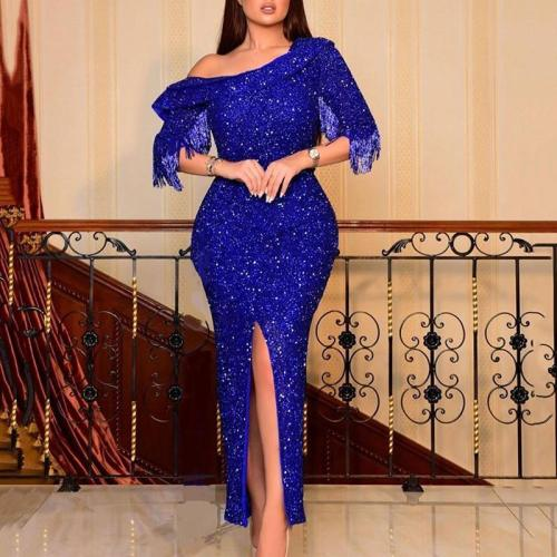 Slanted shoulder lapel tassel stitching sparkling sexy dress