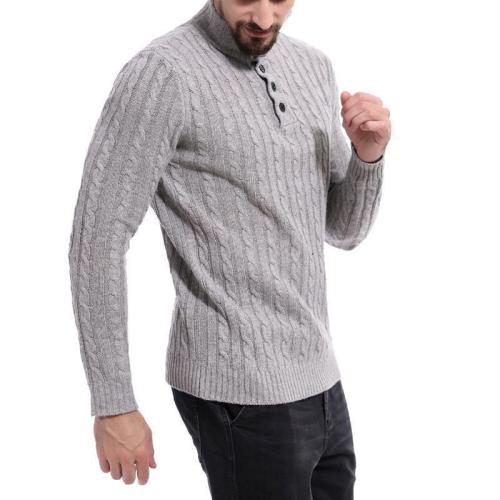 Men's Casual High Collar Jacquard Sweater