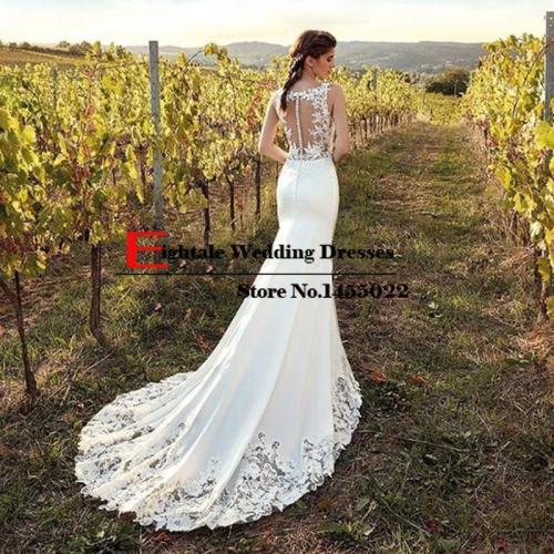 Eightale Boho Wedding Dress Mermaid 2019 Appliques Lace Chiffon Buttons V-Neck Custom Made Bohemian Wedding Gowns Bride Dresses