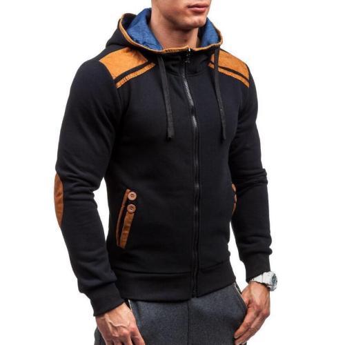 Hot Men's Leather Zipper Hoodie