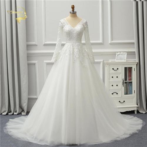 Jeanne Love 2020 New Arrival White Wedding Dresses V Neck Backless Lace Long Sleeves Robe De Mariage JLOV75990 Vestido De Noiva