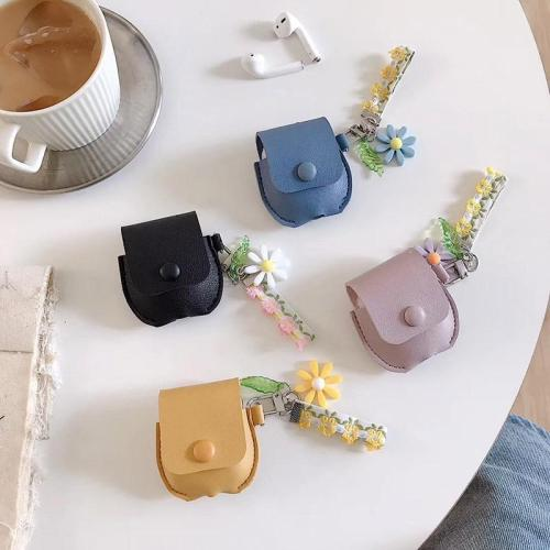 Designer Simple Leather AirPod Case Cover Bag with Keychain