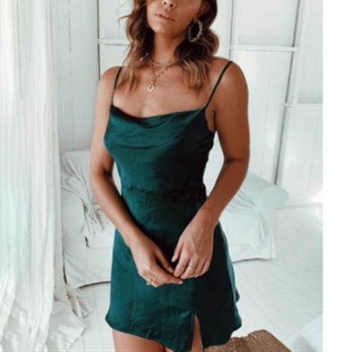 Solid Color Slim Fit Sexy Mini Dress