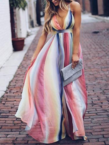 Deep V-neck Backless Gradient Maxi Dress