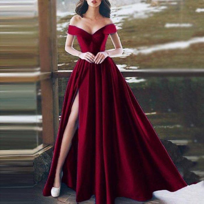 Sexy Off-Shoulder V-Neck Evening Dress