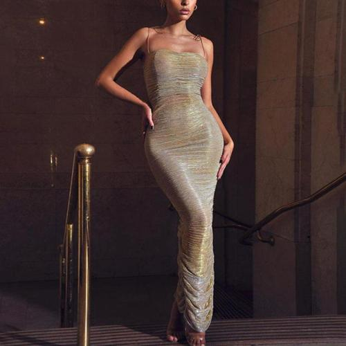 Sexy Sling Backless Slim Fit Ruched Evening Dress
