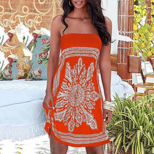 Fashion Print Strapless Sexy Dress Summer Sleeveless Mini Casual Dress Women Strapless Floral Bohemian Casual Mini Beach Dress