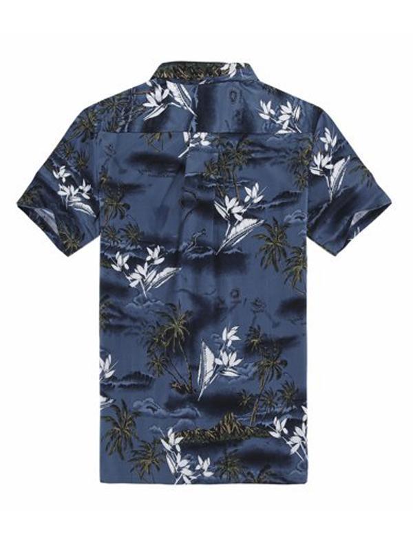 Men Hawaiian Printed Short Sleeves Shirt