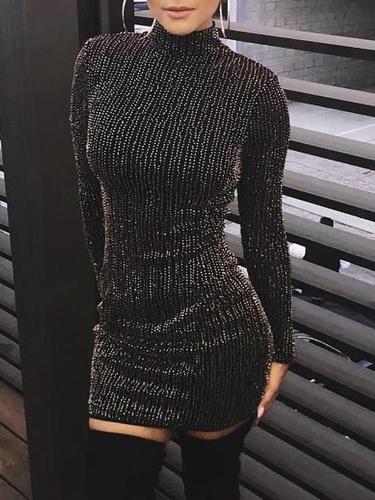 Fashion Sexy Show Thin Sparkling Crystal Mini Bodycon Dress