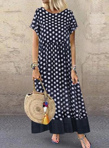 Vintage Polka Dot Fake Two Pieces O-Neck Short Sleeve Maxi Dress